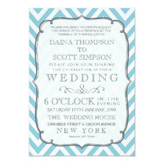 Vintage White & Sky Blue Chevron Stripes Wedding 13 Cm X 18 Cm Invitation Card