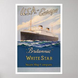 Vintage White Star Britannic Ship Co. Poster Print