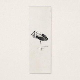 Vintage White Stork Antique Bird Template Mini Business Card