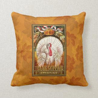 Vintage White Thanksgiving Turkey Cushion
