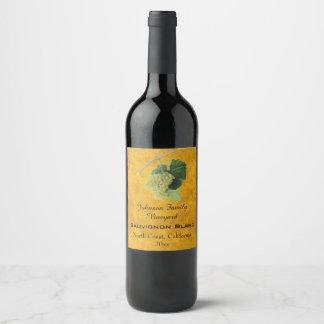 Vintage White Wine Grapes, Sauvignon Blanc Wine Label