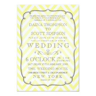Vintage White & Yellow Chevron Stripes Wedding 13 Cm X 18 Cm Invitation Card