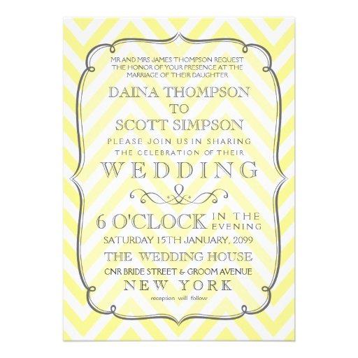 Vintage White & Yellow Chevron Stripes Wedding Personalized Invites