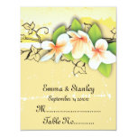 Vintage white yellow plumeria ivy place card 11 cm x 14 cm invitation card