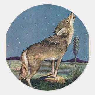 Vintage Wild Animal, Wolf Howling at the Moon Round Sticker