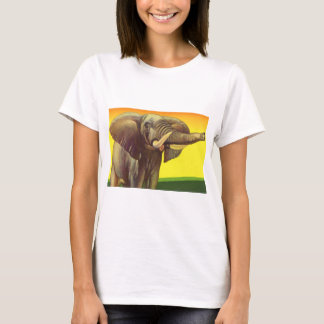 Vintage Wild Animals, African Elephant with Sunset T-Shirt