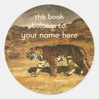 Vintage Wild Animals, Bengal Tiger Bookplate Classic Round Sticker