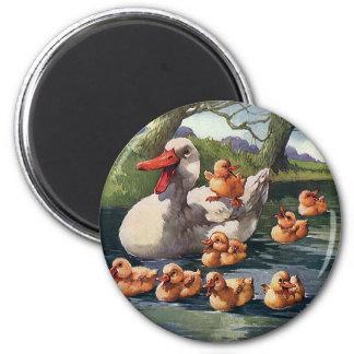Vintage Wild Animals Birds, Ducklings Duck Family Magnet