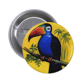 Vintage Wild Animals Birds, Tropic Exotic Toucan 6 Cm Round Badge