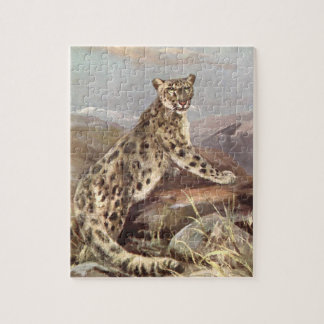 Vintage Wild Animals, Snow Leopard by CE Swan Puzzle