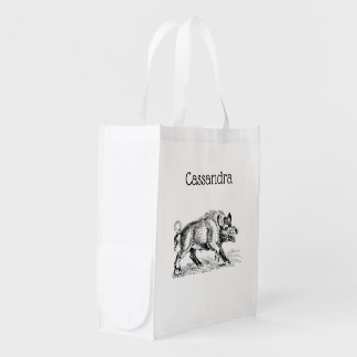 Vintage Wild Boar Drawing BW #2 Reusable Grocery Bag