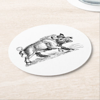 Vintage Wild Boar Drawing BW #2 Round Paper Coaster