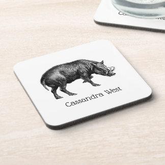 Vintage Wild Boar Drawing BW Coaster