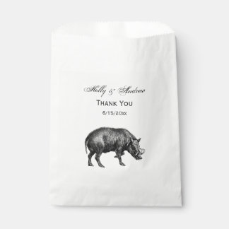 Vintage Wild Boar Drawing BW Favour Bag