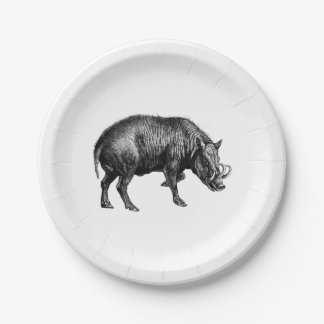 Vintage Wild Boar Drawing BW Paper Plate