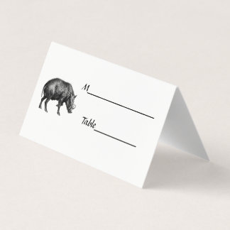 Vintage Wild Boar Drawing BW Place Card