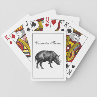 Vintage Wild Boar Drawing BW Playing Cards