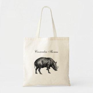Vintage Wild Boar Drawing BW Tote Bag