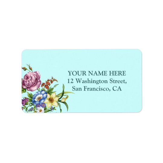 Vintage Wild Flowers Address Label