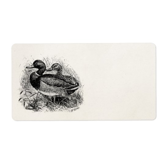 Vintage Wild Mallard Ducks Personalised Template Shipping Label