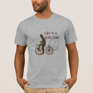 Vintage Wild Ride Steampunk Bicycle Collage T-Shirt