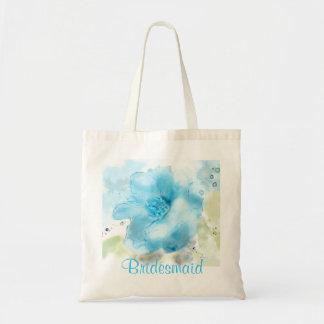 Vintage WIld Rose Watercolor Bridesmaid Tote Canvas Bags
