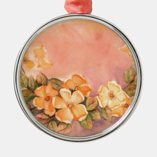 Vintage Wild Roses Premium Round Ornament