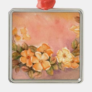 Vintage Wild Roses Premium Square Ornament