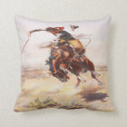 Vintage Wild West Cowboy on Bucking Horse Western Cushion