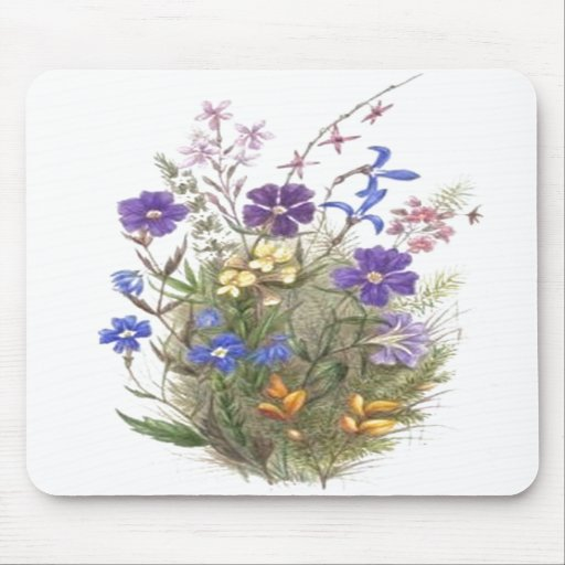 Vintage Wildflowers Mouse Pads