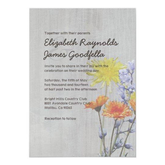 Vintage Wildflowers Wedding Invitations