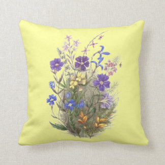Vintage Wildflowers Yellow Pillows