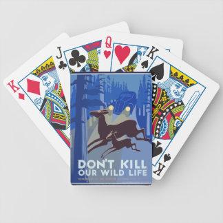 Vintage Wildlife Animal Bicycle Playing Cards