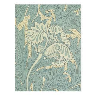Vintage William Morris Tulip Floral Design Postcard