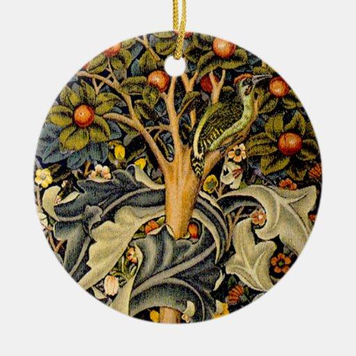 Vintage William Morris Woodpeckers Christmas Ornament