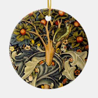 Vintage William Morris Woodpeckers Round Ceramic Decoration