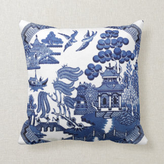 Vintage willow pattern throw cushion