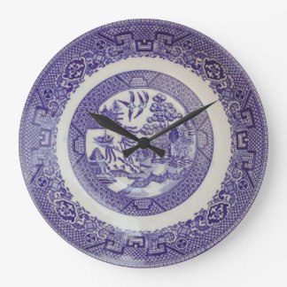 Vintage Willow Pattern Plate Effect Clock