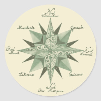 Vintage Wind Rose Sticker, Glossy Classic Round Sticker
