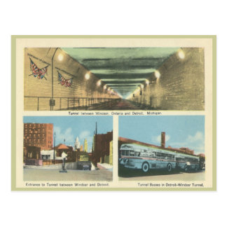 Vintage Windsor Ontario and Detroit Michigan Postcard