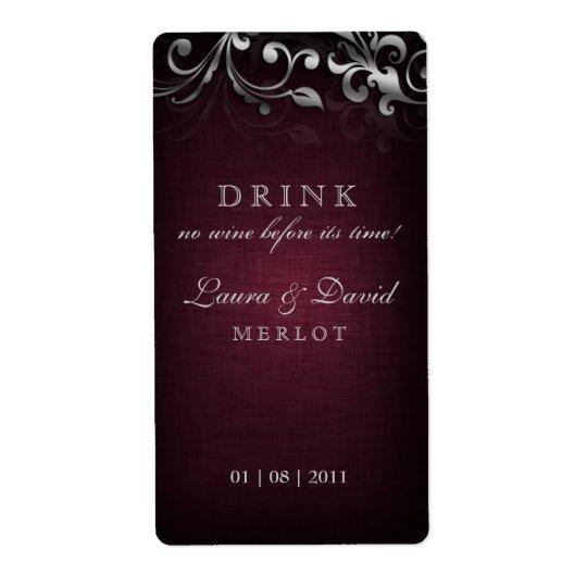 Vintage Wine Label Leaf Linen Burgundy Red Silver