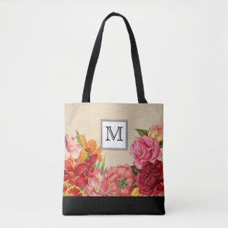 Vintage Wine Rose Rustic Floral Monogram Tote Bag