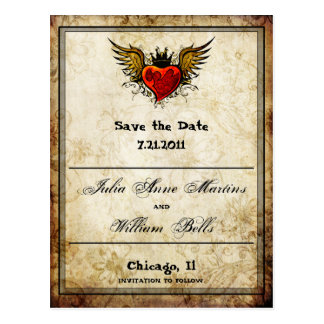 Vintage Winged Heart Save the date Postcards