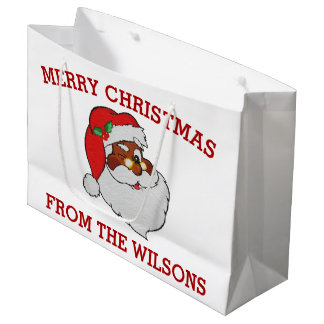Vintage Winking Black Santa Pop Art Large Gift Bag