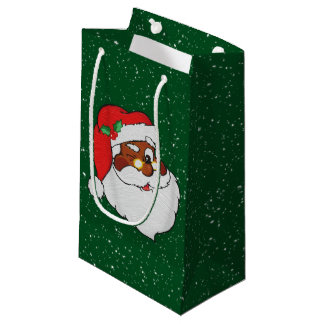Vintage Winking Black Santa Pop Art Small Gift Bag