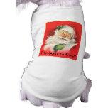 Vintage Winking Jolly Santa Claus Sleeveless Dog Shirt