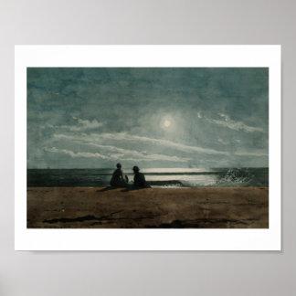 Vintage Winslow Homer Moonlight Poster