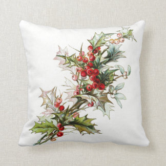 Vintage Winter Berries Throw Pillow