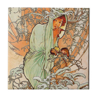 Vintage Winter by Alphonse Mucha Ceramic Tile