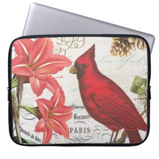 vintage winter cardinal computer sleeves